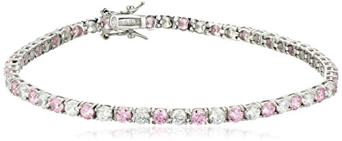 """Sterling Silver Alternating Pink and White Prong Set AAA Cubic Zirconia Tennis Bracelet, 7.5"""" (5.9 cttw)"""
