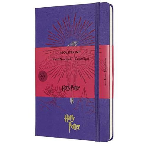 Moleskine - Harry Potter Taccuino in Edizione Limitata, Notebook a Righe, Tema 5/7 Fenice, Copertina Rigida con Grafica e Dettagli a Tema, Formato Large 13 x 21 cm, Viola Geranio, 240 Pagine