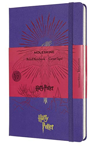 Moleskine - Cuaderno Edición Limitada Harry Potter, Cuaderno con Hojas de Rayas, Diseño del Fénix 5/7, Tapa Dura con Dibujos y Detalles Temáticos, Tamaño Grande 13 x 21 cm, Color Violeta, 240 Páginas