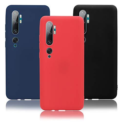 KZIOACSH 3×Cover Xiaomi Mi Note 10 / Note 10 PRO,Morbido Silicone Sottile Morbido TPU Protettivo Custodia Xiaomi Mi Note 10 / Note 10 PRO[Rosso + Nero +Ciano Tibetano],Colore 2
