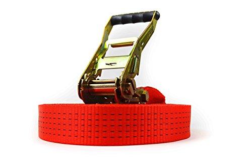 Zurrgurt 12m, 50mm breit, LC 2500/5000 daN, einteiliger PROFI Spanngurt, STF 500, inklusive Langhebelratsche, TÜV-zertifiziert
