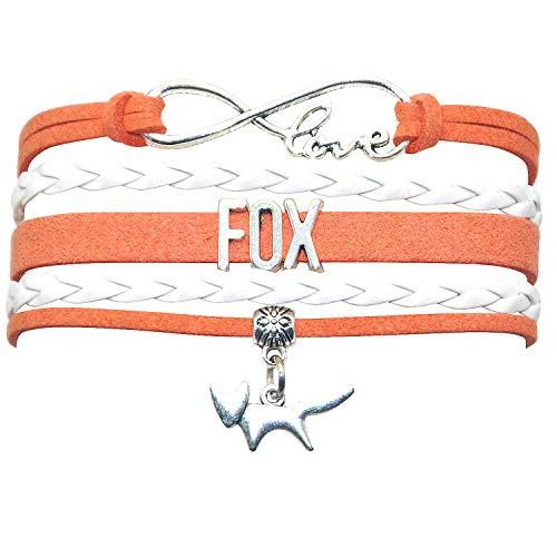 HHHbeauty Fox Bracelet Jewelry Leather Infinity Love Fox Gifts Fox Jewelry Bracelet Gifts for Women, Girls, Teen Girls Including Most Popular Infinity Love Charm, Fox Charm (Orange and White)