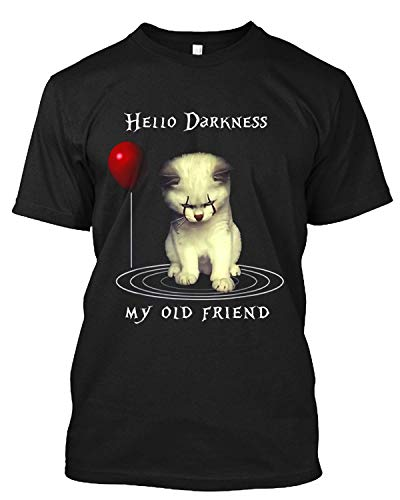 Divertido Halloween Hello Darkness My Old Friend Cat T Shirt Gift Tee para hombres y mujeres