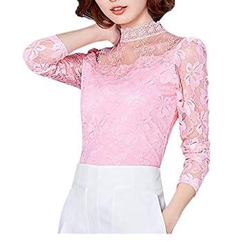 Women Plus Size Top Lace Long Sleeve Turtleneck Sweater Office Work Shirt Blouse  M Z-Pink