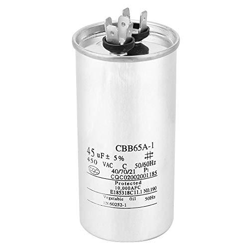 Condensador de Aire Acondicionado CBB65 45UF 450V Genérico, Condensador de Funcionamiento Ovalado Condensador de Arranque de Compresor de Aire Acondicionado de Lámina de Aluminio para GE 979004 y el c