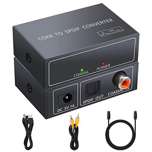 Adaptador Coaxial a Óptico Unidireccional 192kHz Convertidor de Audio Coaxial a Óptico Toslink SPDIF Soporta LPCM2.0 / DTS/Dolby-AC3 Compatible para TV DVD PS4 BLU-Ray Amplificador