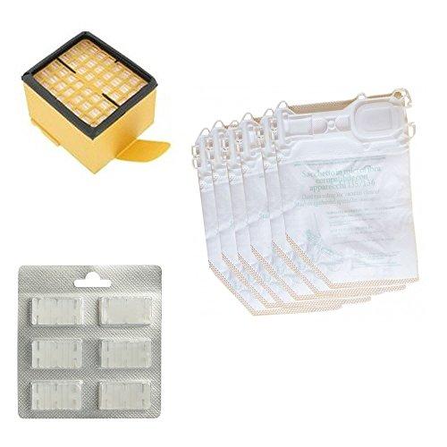 6 Original-Staubsaugerbeutel + 6 Düfte + 1 EPA-Filter für Vorwerk Kobold VK 135, 136