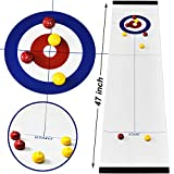 Table Top Fun Family Games Compact Curling Board Game Set for Kids and Adults Shuffleboard Pucks with 8 Rollers