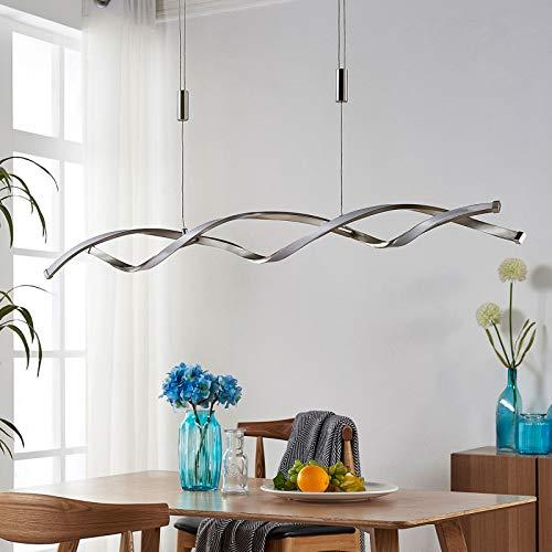Lampada a sospensione LED 'Auron' dimmerabile (Moderno) colore Grigio, ad es. Soggiorno & Sala da pranzo (2 luci, A+, lampadina inclusa) di Lindby | lampada LED a sospensione, lampada a
