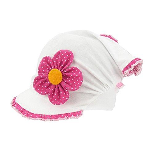 For you Kopftuch Dreiecktuch Mütze Schirmmütze Stirnband für Mädchen Baby Kinder Baumwolle mit Muster-Punktchen Schirmmütze1690 (46-48 cm Kopfumfang + 5 cm dehnbar, Pink -Dunkel/Weiß)