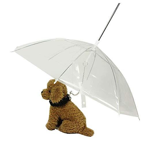 WU Paraguas para Perros Paraguas para Mascotas con Correa Paraguas Transparente para Mascotas Que Caminan al Aire Libre