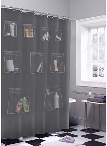 MAYTEX Mesh Pockets PEVA Shower Curtain Liner and Bath Organizer Grey product image