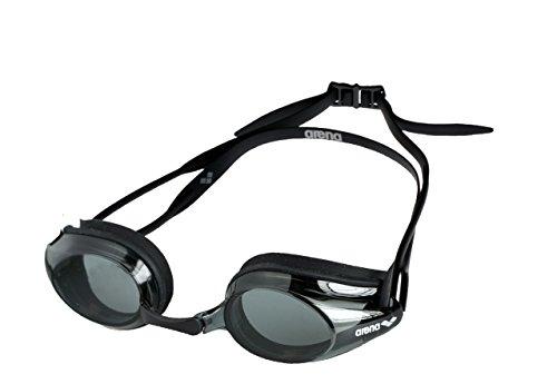 arena Tracks Anti-Fog Wettkampf Schwimmbrille Unisex für Erwachsene, Schwimmbrille mit UV-Schutz, 4 Austauschbare Nasenstege, Silikon Dichtungen