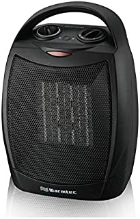 Warmtec 1500W Ceramic Space Heater with Carry Handle Adjustable Thermostat Electric Desk Heater Fan (Black)