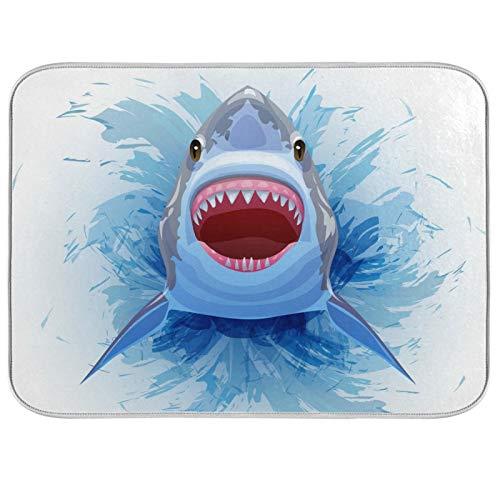 Oarencol Alfombrilla de secado para platos de agua, diseño de tiburón, absorbente, para cocina, 40,6 x 45,7 cm