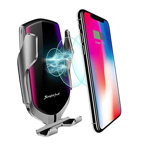 MMOBIEL Soporte cargador inalámbrico teléfono para el coche Qi Carga rápida 5/7.5/10W Sensor infrarrojo Rotación 360° con iPhone 12 Pro(Max)/11/X Samsung S20/S10 incl. soporte conducto de aire (Plata)