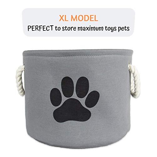 Korb für Spielzeug von Hunde-, Katzen- und Kaninchen (Bälle, Bürste, Plüschtiere, Einstreu, Futter, ...) - Stabiler Hundekorb - Auf- und Zusammenklappbar - Leicht zu Transportieren und zu Reinigen