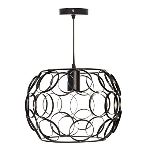 Lámpara colgante moderna Rosca E27 metal para el Restaurante o Dormitorio Sala de Estudio Loft Pasillo color negro 30cm diámetro