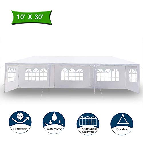 ZLRE 3x9M Garden Gazebo with 5 Side Panels, Outdoor Waterproof Camping Marquee Tent Wedding Party Events Canopy Shelter
