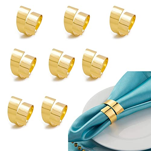 OTTYMO 8 Stück Serviettenringe für Dekoration Metall Napkin Rings Weihnachten Servietten Ringe Gold Serviettenhalter Ringe Vintage Serviettenschnalle Set für Abendessen Hochzeit Stoffservietten