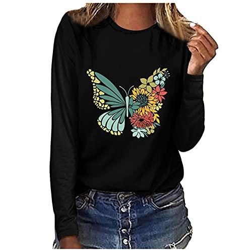 LalalukaTshirtDamenSweatshirt Frühling Herbst Rundhals Langarm Sonnenblume Print Einfarbig Lassige Bluse Frauen Blusen Longshirt Tunika Sweatshirt Pullover Shirts Teenager Bluseshirt Tee Hemd