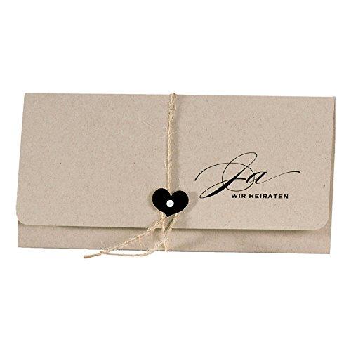 Schokoladenseite 10 x Einladungskarten Hochzeit Vintage braunes Kraftpapier mit Juteband und Herz
