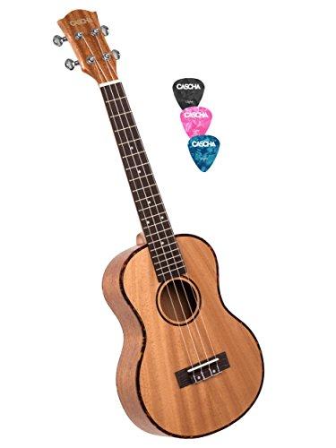 Cascha Premium mahonie sopraan ukelele, kleine Hawaii gitaar, ukelele voor beginners, met acquilasnaren en 3 plectra Ukelele 26 inch Tenor bruin