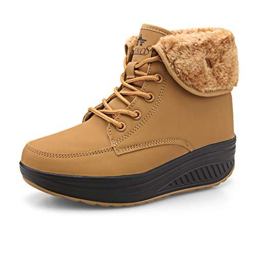 Botas De Nieve De Invierno Mujer Calientes Fur Botines Sneakers Zapatos de Plataforma de Cuña de Fitness Zapatos de Andar Impermeable Anti Deslizante Zapatos Caqui-Top (Piel Forrada) 35 EU