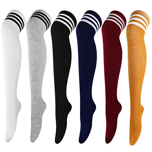 DRESHOW 6 Paar Damen und Mädchen Kniestrümpfe Overknee Lange Strümpfe Streifen Oberschenkel Hohe Socken Sport Socken Leggings Strümpfe