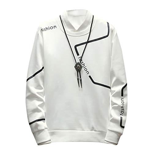 ZODOF Sudaderas Hombre Moda Cuello Redondo Manga Larga Suéter Impreso Blusa Camiseta T-Shirt Hoodie Sweatershirt Pullover Sudaderas Basicas,Blanco