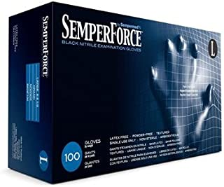 Sempermed BKNF104 SemperForce Nitrile Glove, 4 Mil, Powder-Free, Large, Black (Case of 1000)