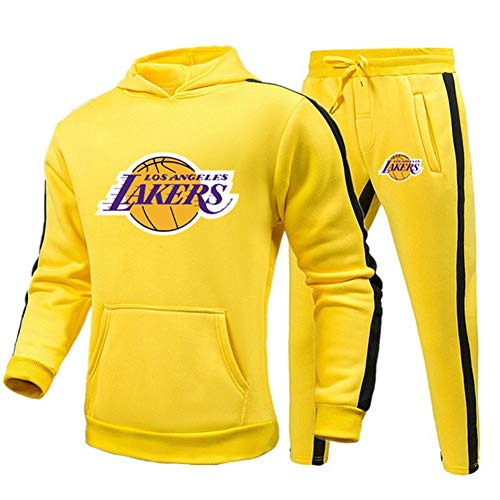 Z/A Lakers Herren Trainingsanzug, Track Sweatshirt Anzug & Hosen, Slim Fit Jogging Track Anzug, Laufende Sportbekleidung für Herbst und Winter,Gelb,XXL