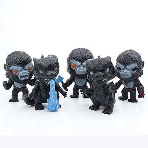 YWSM Godzilla and Kong Toy,5 Pieces Action Figure Cute Decorations,Godzilla with Heat Wave, Kong with Battle Axe,Mini Character Doll Statue Toy, Gifts for Movie Fans Kid Adult-10cm