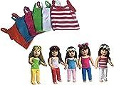 The New York Doll Collection - Poupées Set de 6 solide coloré camisole Set pour Mode Fille Poupées - Orange, Bleu, Rose, Vert, Blanc, rouge et blanc Rayures - S'adapte 18 pouces / 46 cm Poupées