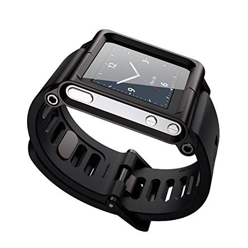 Für iPod Nano 6/6th Armband Uhrenarmbänder, Schwarzes Aluminium Silikon Mix Multi-Touch Uhrenarmband Smart Watch Armbänder Wasserdicht,GemüTlich,Haltbar Und Schmutzabweisend丨 für Herren/Damen