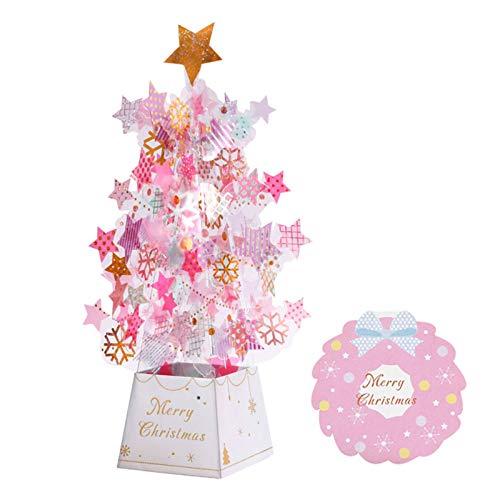 SEKULA Christmas Tree Pop-Up Card 3D Card Christmas Greeting Card Thanksgiving Card Transparent Stars Snowflakes