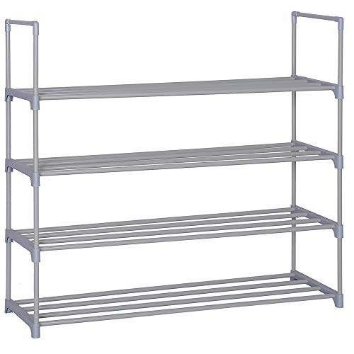 Home-Like 4-Tier Shoe Rack DIY Shoe Rack Tower Metal Storage Rack 20 Pairs Shoes Organizer Stackable Shoe Shelves Metal Shoe Stand in Grey for Entryway Closet 35.6''W x 12''D x 33.27''H (4 Tier/Grey)
