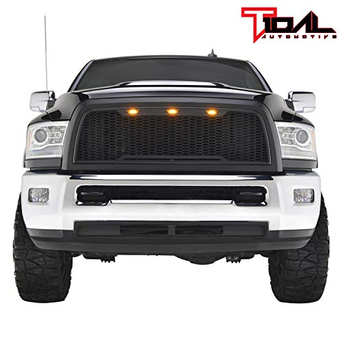 Tidal Replacement Ram ABS Upper Grille Front Hood Grill - Matte Black - With Amber LED Lights for 13-18 Dodge Ram 2500/3500 Heavy Duty