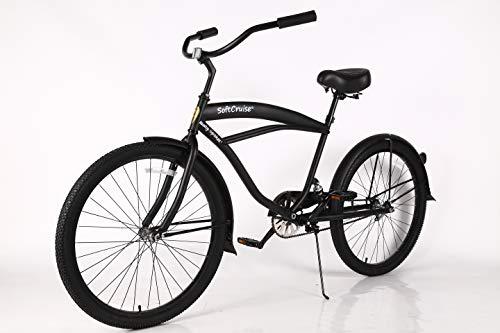 """Beach Cruiser Bike Coral, para Hombres, con Estructura de Acero de 26"""", Bicicleta de una Velocidad de una Velocidad con Frenos de montaña y neumáticos Anchos de Apoyo, con suspensión"""