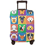 Travel Suitcase Protector,Dog Breeds Profiles Pets Shepherd Terrier Labrador Domestic Animals Illustration,Suitcase Cover Washable Luggage Cover L
