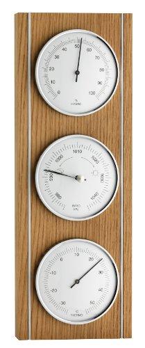 TFA Dostmann Analoge Wetterstation, aus Eiche, Barometer, Hygrometer, Thermometer, zur Raumtemperaturkontrolle