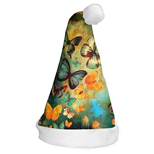 LAOLUCKY Colorido Mariposa Pintura Al Óleo Sombrero De Papá Noel Sombrero De Navidad Para Adultos Unisex Tradicional Navidad Claus Cap Corto Felpa