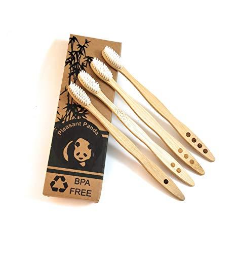 Pleasant Panda Natural Bamboo Toothbrushes 4-Pack, Soft BPA-Free Nylon Bristles, Biodegradable, Eco-Friendly Bamboo Toothbrush