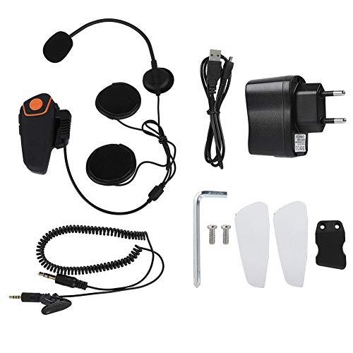 Cerlingwee Auricular de Moto Impermeable Función de Radio Auricular de Casco Bluetooth para Almohadilla Teléfono móvil MP3(European regulations)