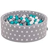 KiddyMoon 90X30cm/200 Balles ∅ 7Cm Piscine À Balles pour Bébé Rond Fabriqué en UE, Étoiles Blanc-Gris: Gris-Blanc-Turquoise