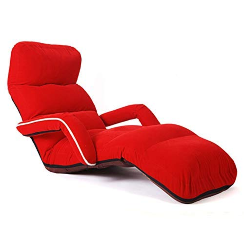 Giow Dormitorio Multifuncional de Lazy Couch con Ventana de Tatami Simple Sofá Cama Individual Salón Sala de Estar Balcón Sillón de Lectura con cojinete 120 KG (Color: Rojo, Tamaño: 175 * 56 * 18