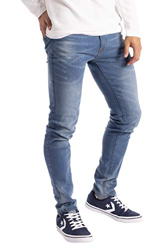 BlauerHafen Herren Slim Fit Jeanshose Stretch Designer Hose Super Flex Denim Pants (32W / 30L, Hellblau)
