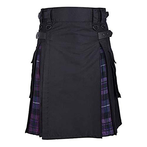 Hombres Retro Faldas de Bolsillo Kilt Escocia Moda Gótica Ropa Escocesa Falda Kendo de Falda Plisada Disfraz Multicolor (S-XXXXXL ) riou