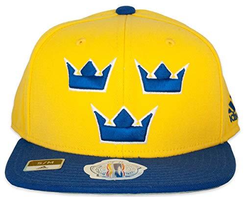 Adidas Team Schweden 2016 World Cup of Hockey Two Tone Flat Brim Flex Fit Mütze, Herren, gelb, Large-X-Large
