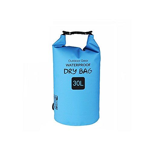 Bolsa seca para deportes al aire libre, impermeable, 20 l/25 l/30 l, resistente 500 D, bolsa de almacenamiento enrollable para kayak, barco, rafting, pesca, camping, natación, canoa, snowboard, color azul, tamaño 30L